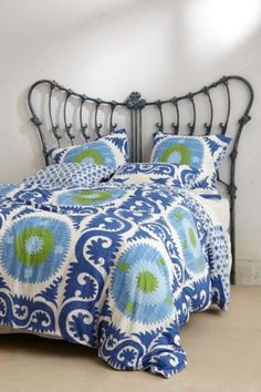 ANTHROPOLOGIE-Yalova-Blue-KING-Duvet-Cover-4-Shams-Bedding-Suzani-Motif-NIP-NEW stitched cotton green blue light pastel sky white home