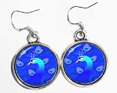 Blue Peacock  Art Earrings, Photo & Resin Charms Earrings - Silver 925 Hooks - Personalized Double Sided