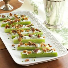 Blue Cheese Stuffed Celery: Here, we loaded the stalks with savory blue cheese and low-fat cream cheese, then garnished with golden Calimyrna figs for a cant-miss savory-sweet combo.  #vegetables #dairy #myplate