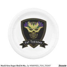 Mardi Gras Sugar Skull & Mask Paper Plate