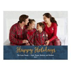 Happy Holidays Picture Post Card - Gold and Navy - merry christmas postcards postal family xmas card holidays diy personalize