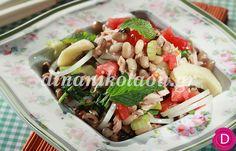 Μαυρομάτικα σαλάτα με τόνο και ντομάτες   Dina Nikolaou Snack Recipes, Healthy Recipes, Snacks, Healthy Meals, Pasta Salad, Cobb Salad, Greek Recipes, Potato Salad, Salads