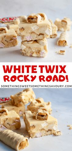 This easy, no bake white Twix rocky road with marshmallows, shortbread chunks and white Twix bars is the perfect sweet treat for white chocolate fans! Tray Bake Recipes, Easy Baking Recipes, Best Dessert Recipes, Easy Desserts, Sweet Recipes, Chocolate Traybake, Twix Chocolate, Chocolate Desserts, Chocolate Marshmallows