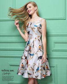 Spring Dress Retro Round Neck Birds Printing Sleeveless Women Dress