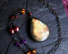 Labradorite Necklace Amethyst Garnet Amber Oxidized by CircesHouse