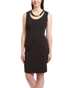 Another great find on #zulily! Black & Gold Sheath Dress #zulilyfinds