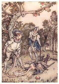 Arthur Rackham's Rare and Revolutionary 1917 Illustrations for the Brothers Grimm Fairy Tales – Brain Pickings Grim Fairy Tales, Brothers Grimm Fairy Tales, Grimm Tales, John Kenn, Arthur Rackham, Tree Illustration, Victorian Illustration, Fairytale Art, Midsummer Nights Dream