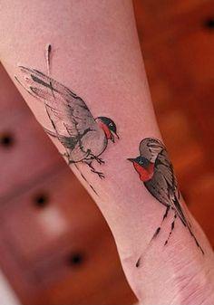 Nice birds tattoo by Chen Jie