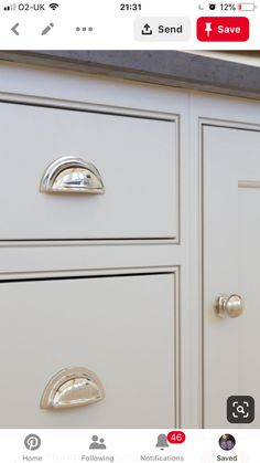 Grey kitchen cabinetry and polished nickel handles at the The Old Forge House, Hertfordshire Kitchen Knobs, Kitchen Cabinet Handles, New Kitchen Cabinets, Shaker Kitchen, Kitchen Hardware, Kitchen Paint, Door Handles, Red Cabinets, Inset Cabinets
