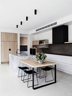 Cuisine style contemporain - Expolore the best and the special ideas about Modern kitchen design Kitchen Island Bench, Kitchen Benches, New Kitchen Cabinets, Timber Kitchen, White Cabinets, Kitchen Island With Table Attached, Kitchen Dining, Plywood Kitchen, Copper Kitchen
