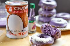 Ube Donuts with Coconut Glaze — The Sweet & Sour Baker Ube Donut Recipe, Haupia Recipe, Ube Dessert Recipe, Dessert Recipes, Ube Recipes, Donut Recipes, Asian Recipes, Filipino Desserts, Filipino Food