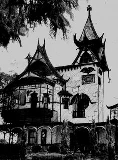 Haunted House. Drawing by Arinka Linders