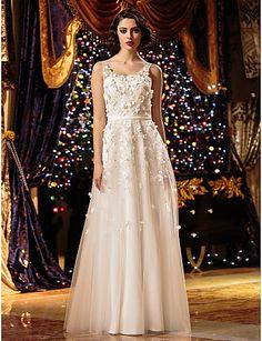 A-line/Princess Wedding Dress - Ivory Floor-length Scoop Tulle – USD $ 99.99