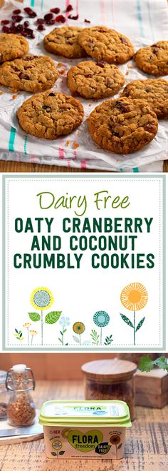 Coconut, cranberry and golden syrup - what a combination of flavours. These delicious dairy free oaty cookies make for a great snack.