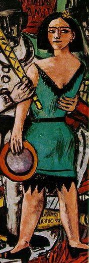 Max Beckmann (1884-1950) Theater, variété en circusartiesten bleven in zijn gehele oeuvre geliefde thema's, waarmee hij op een geheel eigen wijze aansloot bij het (Franse) modernisme. Deze 'maskerades' tonen Beckmanns overtuiging dat het leven een soort toneel is, waarachter een andere werkelijkheid schuilgaat. In zijn 'geschilderd wereldtheater' leverde hij kritisch commentaar op wat hij zag gebeuren. Hij probeerde achter de coulissen te kijken, op zoek naar het script van goed en kwaad.