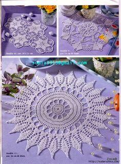 "Photo from album ""Sabrina - Filet au crochet 01 on Yandex. Filet Crochet, Crochet Art, Crochet Home, Doily Patterns, Crochet Patterns, Crochet Placemats, Crochet Dollies, Doilies, Beach Mat"