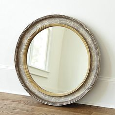 "Ballard Designs Cassidy Mirror Dimensions:  25IN: 25 1/4"" Diameter X 2 1/2""D w/17"" Diam.  33IN: 33 1/4"" Diameter X 2 1/2""D w/24 3/8"" Diameter Mirror"