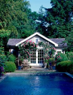 Hard to decide which is the prettiest...the pool...the trailing roses...or the pool house!! So relaxing...