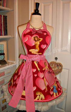 Retro Pin Up Girls Sweetheart handmade apron by mimisneedle