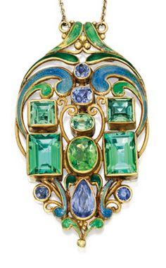 Emerald-cut green tourmaline, garnets, sapphire & enamel PENDANT, by Frank Gardner Hale