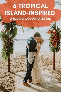 For couples dreaming of warm weather, good vibes, and lots of vibrant colors—these tropical wedding color palettes are sure to make you swoon   Image by Adri Mendez Unique Wedding Colors, Beach Wedding Colors, Beach Wedding Decorations, Beach Weddings, Tropical Colors, Vibrant Colors, Hipster Wedding, Pink Photo, Wedding Color Schemes