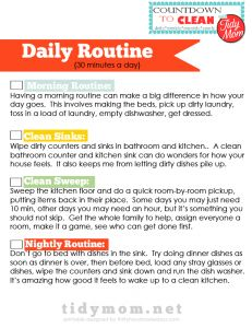 Cheryl from Tidy Mom did a fabulous Countdown to Clean series where she broke cleaning responsibilities into daily, weekly, monthly and yearly routines. She asked me to make printables for the series. Which is awesome because heaven knows I could use the cleaning help myself!! I plan on printing