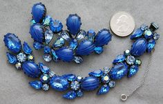 Magnificent blue rhinestone and art glass bracelet and brooch by Regency a stunning Parure. From the late 1950s - mid 1960s this set will be a