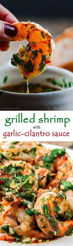 Grilled Shrimp with Roasted Garlic-Cilantro Sauce. Easy and o-so-delicious appetizer! From The Mediterranean Dish.: Grilled Shrimp with Roasted Garlic-Cilantro Sauce. Easy and o-so-delicious appetizer! From The Mediterranean Dish. Grilled Shrimp Recipes, Fish Recipes, Seafood Recipes, Dinner Recipes, Cooking Recipes, Healthy Recipes, Sauce Recipes, Recipies, Seafood Appetizers