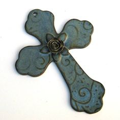 Ceramic Cross Wall Hanging in Blue with Rose, Leaves and Vines Medium on Etsy, $20.00