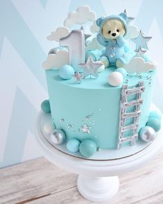 Baby Boy 1st Birthday Party, Cute Birthday Cakes, First Birthday Cakes, Torta Baby Shower, Best Birthday Cake Designs, Baby Elephant Cake, Teddy Bear Cakes, Balloon Cake, Baby Boy Cakes