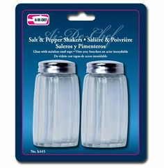 "Al-de-chef Salt & Pepper Shakers - Glass by Symak. $4.99. Stainless Steel Tops. 2.75"" tall. Glass. Al-de-chef Salt & Pepper Shakers - Glass"