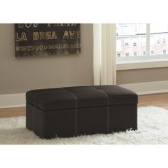 Make more room in your living space with the DHP Delaney Rectangular Storage Ottoman . This handsome ottoman is crafted from faux leather with white. 3 Piece Living Room Set, Living Room Sets, Black Ottoman, Upholstered Ottoman, Furniture Deals, The Help, Home Furnishings, House Styles, Home Decor