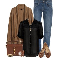 """Black and Brown"" by millixox on Polyvore"