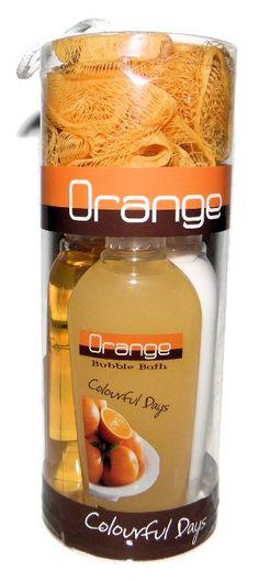 Orange Citrus Scent Bath Gift Set - Shower Gel, Bath Lotion, Bubble Bath and Spa Scrubby Puff