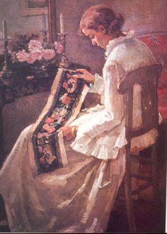 LA BORDADORA,  Magdalena Mira. Oleo sobre Tela  144 x 100 cm  Pinacoteca Univ. de Concepción.       The embroidery,  Magdalena Mira. Oil on Canvas  144 x 100 cm  Pinacoteca Concepcion Univ.