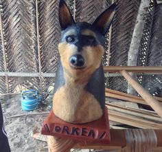 Wooden bust of the family pet  Custom orders available