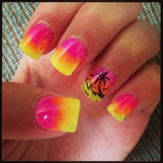 Sunset Palm Trees Summer Nails