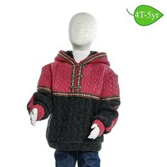 Alpine Adorable -- Upcycled, deep coral and black, felted wool, Nordic inspired jacket. ($90)