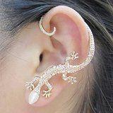 Somsakbuy @1PCS Beautiful Zircon Alloy Gecko Pattern Earrings