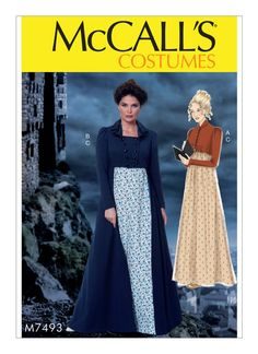 M7493 Regency-Inspired Cropped Jacket, Floor-Length Coat and A-Line, Square-Neck Dress