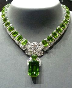Cartier Peridot and diamond necklace