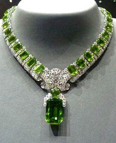 Cartier Peridot and diamond necklace