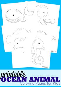 Summer is finally here! Whether you're planning a family trip to the beach or an ocean themed unit study, your kids are going to love these ocean animal coloring pages!