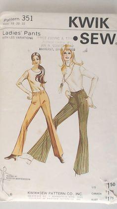"Kwik Sew Vintage Pattern  351- Flare leg (Bell bottoms) Leg variations-Elastic waist- 1970's Pattern Sz (18-20-22) Waist 32 1/4-36-5/8"" https://www.etsy.com/listing/194029555/kwik-sew-vintage-pattern-351-flare-leg?"
