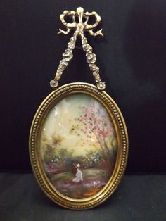 OLD BRONZE PAINTING MINIATURE ROMANTIC SCENE IN THE FOREST. PORTRAIT SIGNED