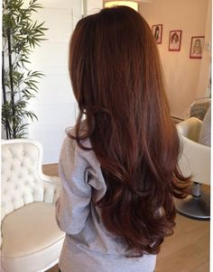 Love this gorgeous health chestnut brown long hair.
