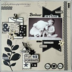 Et oui encore moi ! Je scrappe décidément beaucoup en ce moment et voilà donc… Heritage Scrapbook Pages, Baby Scrapbook Pages, Vintage Scrapbook, Wedding Scrapbook, Scrapbook Sketches, Scrapbook Paper Crafts, Scrapbook Supplies, Scrapbooking Layouts, Scrapbook Cards