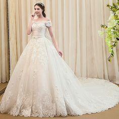 Lisa Court 2015 new word shoulder wedding dress trailing bridal xj86204