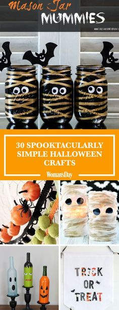 Cut and glue your way to perfect Halloween decor with these easy DIY projects. Here you'll find fun and easy ideas like Spider Web Wine Bottles, Mason Jar Mummies, and more.