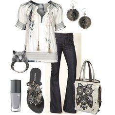 Cute!  I love the wolf ring and the owl purse.  Pretty Peasant Blouse, created by cynthia335